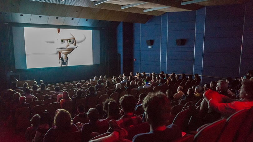 During the second annual Digital Arts Exhibition (DAX v.2) there was a screening of student animated and live action films in Loew Auditorium on May 9. (Photo by Eli Burakian '00)