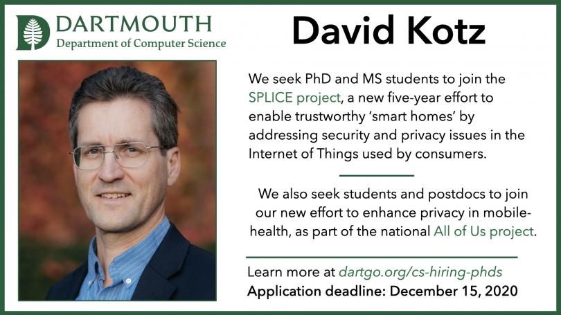 PhD ad David Kotz
